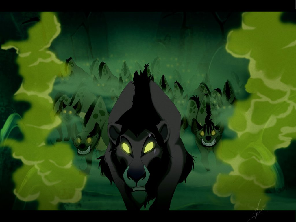 Scene from The Lion King in the hyena's den with billowing green smoke