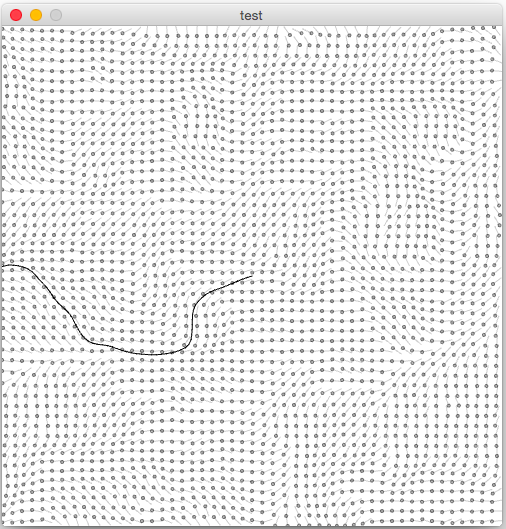 A particle released into a Perlin noise field follows the force lines