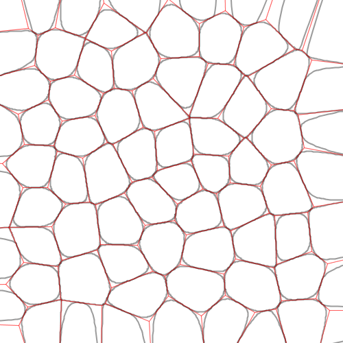Chaikin curves used to round out polygons of a Voronoi diagram